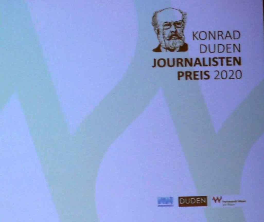 Verleihung Konrad-Duden-Journalistenpreis 2020